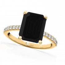 Emerald Cut Black Diamond & Diamond Engagement Ring 14k Yellow Gold (2.96ct)