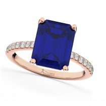 Emerald Cut Blue Sapphire & Diamond Engagement Ring 14k Rose Gold (2.96ct)