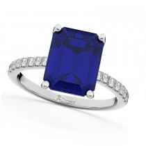Emerald Cut Blue Sapphire & Diamond Engagement Ring 14k White Gold (2.96ct)