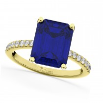 Emerald Cut Blue Sapphire Diamond Engagement Ring 18k Yellow Gold (2.96ct)