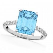 Emerald Cut Blue Topaz & Diamond Engagement Ring 14k White Gold (2.96ct)