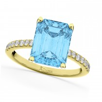 Emerald Cut Blue Topaz & Diamond Engagement Ring 18k Yellow Gold (2.96ct)