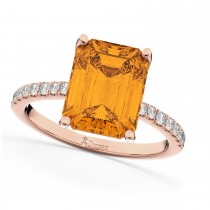 Emerald-Cut Citrine & Diamond Engagement Ring 14k Rose Gold (2.96ct)