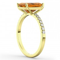 Emerald-Cut Citrine & Diamond Engagement Ring 14k Yellow Gold (2.96ct)