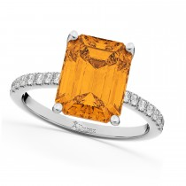 Emerald-Cut Citrine & Diamond Engagement Ring 18k White Gold (2.96ct)