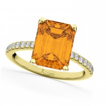 Emerald-Cut Citrine Diamond Engagement Ring 18k Yellow Gold (2.96ct)