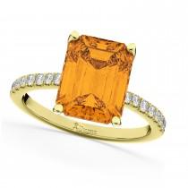 Emerald-Cut Citrine Diamond Engagement Ring 18k Yellow Gold (2.96ct)