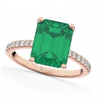 Emerald Cut Emerald & Diamond Engagement Ring 14k Rose Gold (2.96ct)