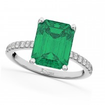 Emerald Cut Emerald & Diamond Engagement Ring 18k White Gold (2.96ct)