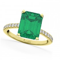 Emerald Cut Emerald & Diamond Engagement Ring 18k Yellow Gold (2.96ct)