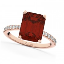 Emerald-Cut Garnet & Diamond Engagement Ring 14k Rose Gold (2.96ct)