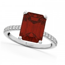 Emerald-Cut Garnet & Diamond Engagement Ring 14k White Gold (2.96ct)