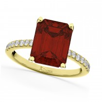 Emerald-Cut Garnet Diamond Engagement Ring 18k Yellow Gold (2.96ct)