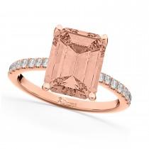 Emerald Cut Morganite & Diamond Engagement Ring 14k Rose Gold (2.96ct)