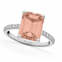 Emerald Cut Morganite & Diamonds Engagement Ring 14k White Gold (2.96ct)
