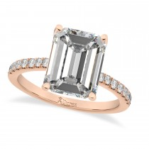 Emerald Cut Moissanite & Diamond Engagement Ring 14k Rose Gold (2.96ct)