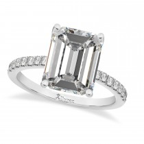 Emerald Cut Moissanite & Diamonds Engagement Ring 14k White Gold (2.96ct)