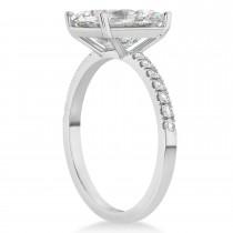 Emerald Cut Moissanite & Diamond Engagement Ring 14k White Gold (2.96ct)