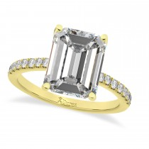 Emerald Cut Moissanite & Diamonds Engagement Ring 14k Yellow Gold (2.96ct)