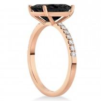 Emerald Cut Onyx & Diamond Engagement Ring 14k Rose Gold (2.96ct)