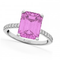 Emerald Cut Pink Sapphire & Diamond Engagement Ring 18k White Gold (2.96ct)