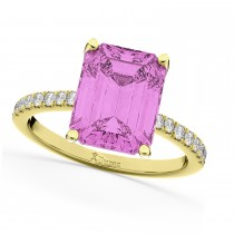 Emerald Cut Pink Sapphire Diamond Engagement Ring 18k Yellow Gold (2.96ct)