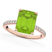 Emerald-Cut Peridot & Diamond Engagement Ring 14k Rose Gold (2.96ct)