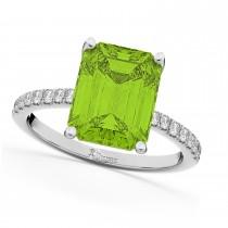 Emerald-Cut Peridot & Diamond Engagement Ring 14k White Gold (2.96ct)