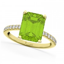 Emerald-Cut Peridot & Diamond Engagement Ring 14k Yellow Gold (2.96ct)