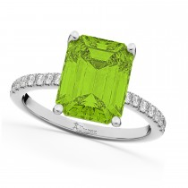 Emerald-Cut Peridot & Diamond Engagement Ring 18k White Gold (2.96ct)