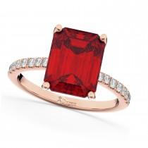 Emerald Cut Ruby & Diamond Engagement Ring 14k Rose Gold (2.96ct)