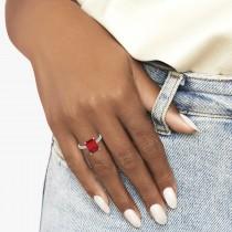 Emerald Cut Ruby & Diamond Engagement Ring 14k White Gold (2.96ct)