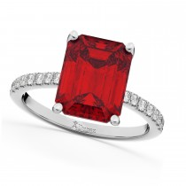 Emerald Cut Ruby & Diamond Engagement Ring 18k White Gold (2.96ct)