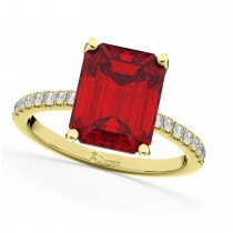 Emerald Cut Ruby & Diamond Engagement Ring 18k Yellow Gold (2.96ct)