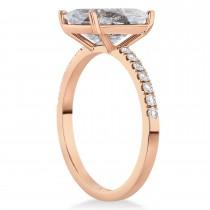 Emerald Cut Salt & Pepper & White Diamond Engagement Ring 14k Rose Gold (2.96ct)