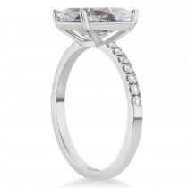 Emerald Cut Salt & Pepper & White Diamond Engagement Ring 14k White Gold (2.96ct)