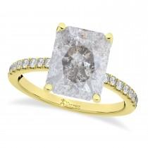 Emerald Cut Salt & Pepper & White Diamond Engagement Ring 14k Yellow Gold (2.96ct)