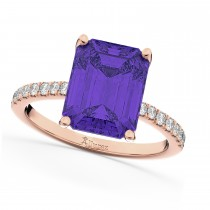 Emerald-Cut Tanzanite & Diamond Engagement Ring 14k Rose Gold (2.96ct)