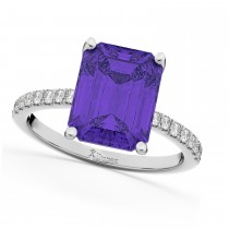 Emerald-Cut Tanzanite & Diamond Engagement Ring 14k White Gold (2.96ct)