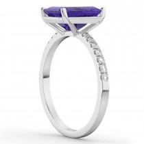 Emerald-Cut Tanzanite & Diamond Engagement Ring 14k White Gold (2.96ct)