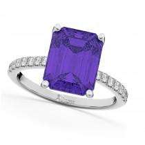 Emerald-Cut Tanzanite & Diamond Engagement Ring 18k White Gold (2.96ct)