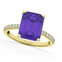 Emerald-Cut Tanzanite Diamond Engagement Ring 18k Yellow Gold (2.96ct)