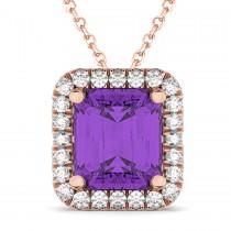 Emerald-Cut Amethyst & Diamond Pendant 14k Rose Gold (3.11ct)