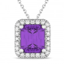 Amethyst & Diamond Pendant Necklace 14k White Gold (3.11ct)