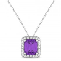 Emerald-Cut Amethyst & Diamond Pendant 14k White Gold (3.11ct)