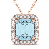 Emerald-Cut Aquamarine & Diamond Pendant 14k Rose Gold (3.11ct)