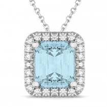 Emerald-Cut Aquamarine & Diamond Pendant 14k White Gold (3.11ct)