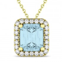 Emerald-Cut Aquamarine & Diamond Pendant 14k Yellow Gold (3.11ct)