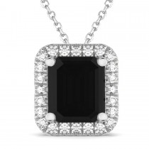 Emerald Cut Black & White Diamonds Pendant 14k White Gold (3.11ct)