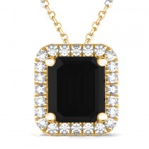 Emerald Cut Black & White Diamonds Pendant 14k Yellow Gold (3.11ct)
